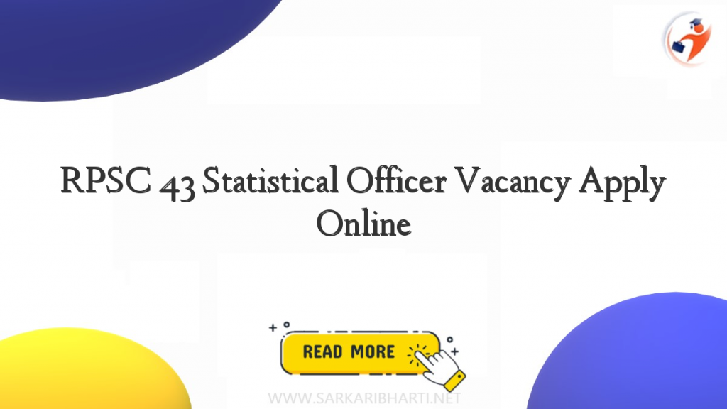 rpsc 43 statistical officer vacancy apply online image