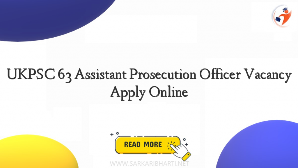 ukpsc 63 assistant prosecution officer vacancy apply online image