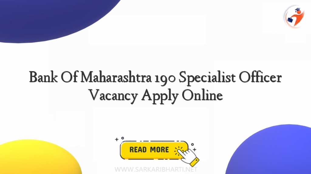 bank of maharashtra 190 specialist officer vacancy apply online image